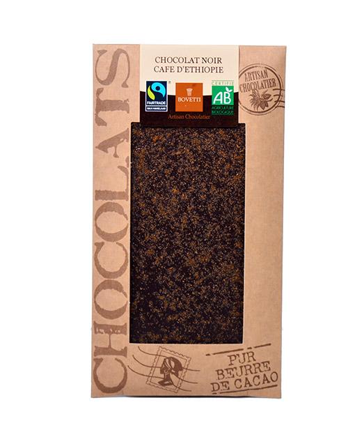 Tablette chocolat noir - café bio - Bovetti