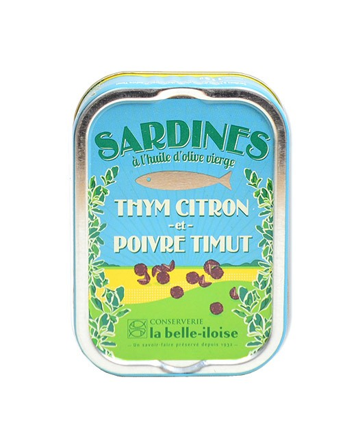 Sardines à l'huile d'olive vierge, thym citron et poivre Timut - Belle-Iloise (La)