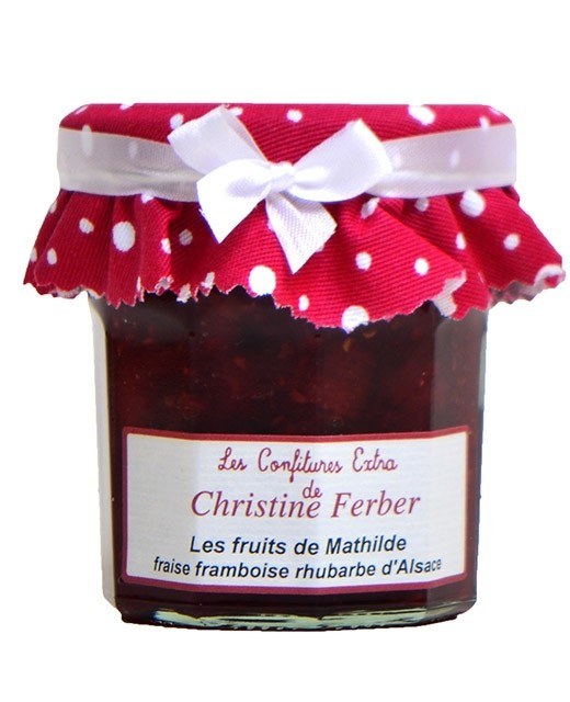 Confiture Les fruits de Mathilde - fraises, framboises et rhubarbe - Christine Ferber