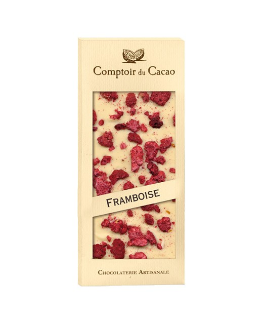 Tablette chocolat blanc - framboise - Comptoir du Cacao