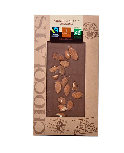 Tablette chocolat lait - amandes bio - Bovetti