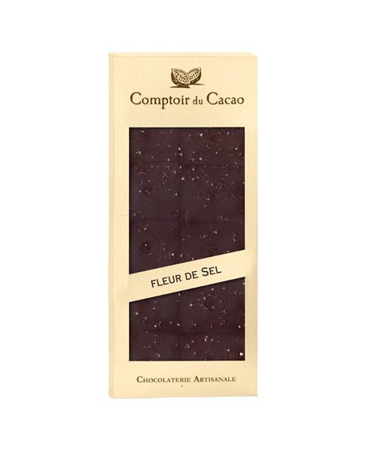 Tablette chocolat noir - fleur de sel de Guérande - Comptoir du Cacao