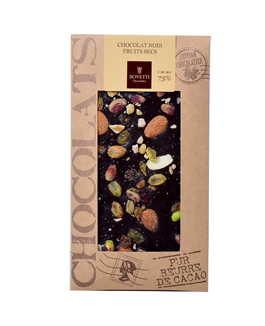 Tablette chocolat noir - fruits secs - Bovetti