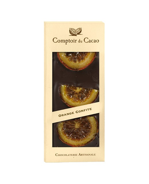 Tablette chocolat noir - orange confite - Comptoir du Cacao