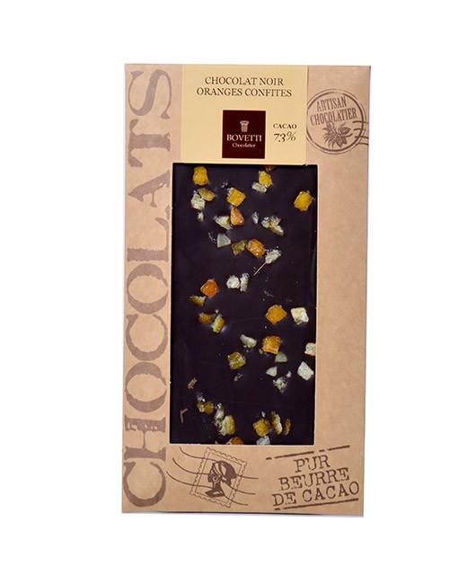 Tablette chocolat noir - oranges confites - Bovetti