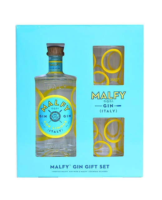 Coffret Gin Malfy citron et ses 2 verres - Malfy