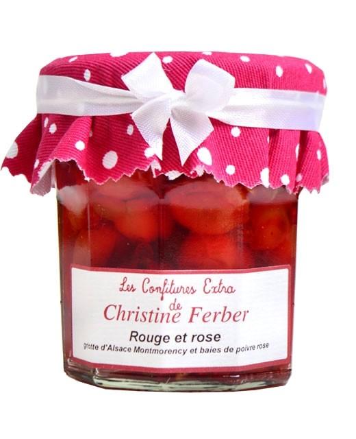 Confiture rouge et rose - griotte d'Alsace Montmorency et baies de poivre rose - Christine Ferber