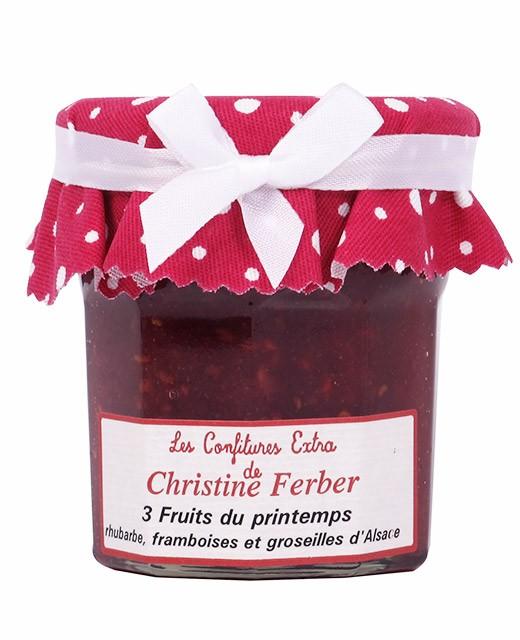 Confiture 3 fruits du printemps - rhubarbe, framboises et groseilles - Christine Ferber