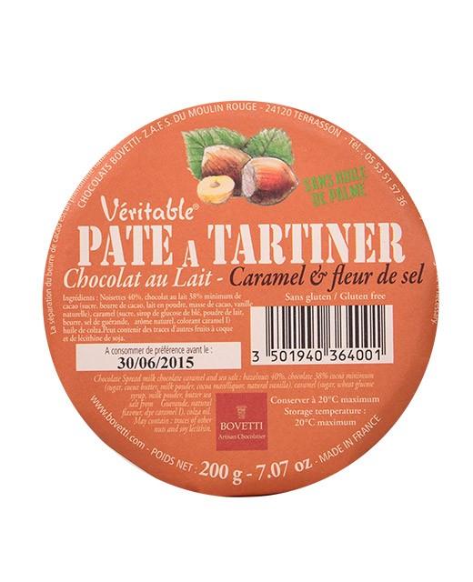 Pâte à tartiner - chocolat au lait, noisettes et éclats de caramel au beurre salé - Bovetti