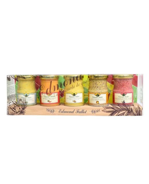 Présentoir en bois et ses 5 moutardes - Fallot