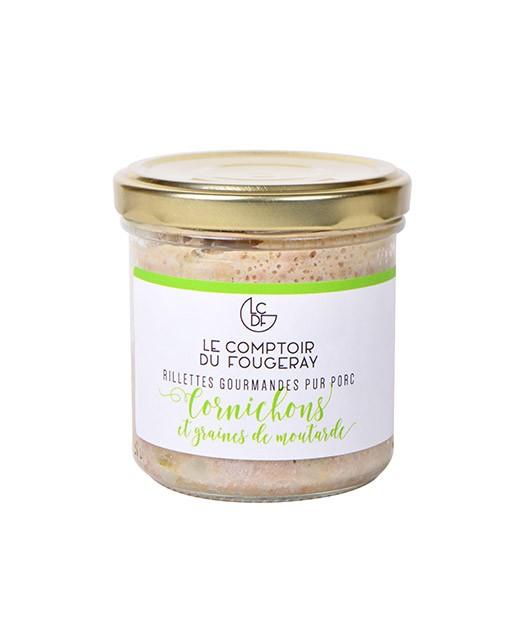 Rillettes de porc aux cornichons et graines de moutarde - Comptoir Fougeray