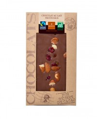 Tablette chocolat lait - fruits secs bio - Bovetti
