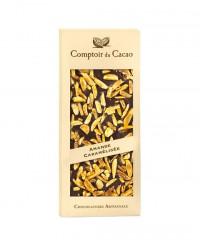 Tablette chocolat noir - amande caramélisée - Comptoir du Cacao