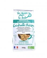 Granola bio - Cacahuètes Raisin - La main dans le bol