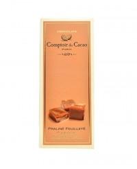 Tablette au praliné feuilleté - caramel beurre salé - Comptoir du Cacao