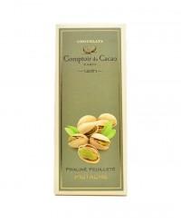 Tablette au praliné feuilleté - pistache - Comptoir du Cacao
