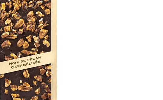 Tablette chocolat noir - noix de pécan caramélisée - Comptoir du Cacao