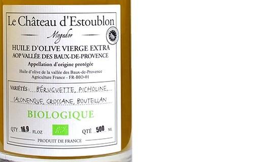 Huile d'olive bio vierge extra - AOP Vallée des Baux de Provence - Château d'Estoublon
