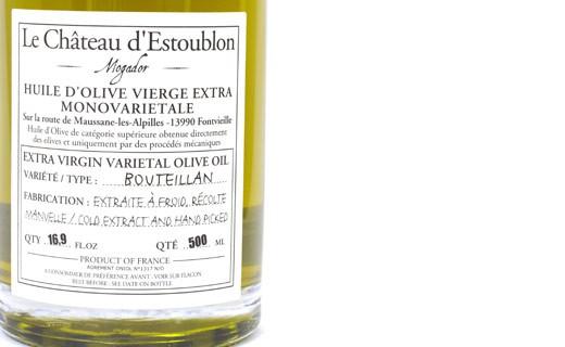 Huile d'olive vierge extra - Bouteillan 100% - Château d'Estoublon