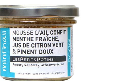 Mousse d'ail confit à la menthe fraîche, jus de citron vert et piment doux - Minthail - Petits Potins (Les)
