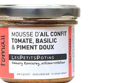 Mousse d'ail confit à la tomate, au basilic et au piment doux - Tomail - Petits Potins (Les)