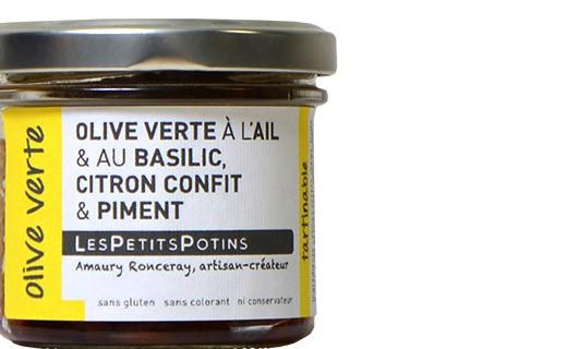 Olive verte au basilic, citron confit et au piment - Olive verte - Petits Potins (Les)