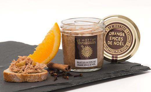 Rillettes de porc bio à l'orange confite et aux épices de Noël - Le Mottay Gourmand