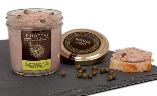 Rillettes de porc bio au poivre vert - Le Mottay Gourmand