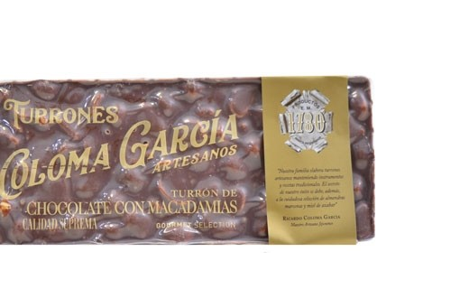 Turron - tablette de chocolat aux noix de Macadamia  - Coloma Garcia