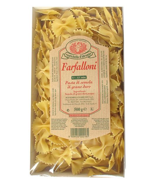 Farfalloni - Rustichella d´Abruzzo. Les farfalloni sont des pâtes originaires de Bologne appropriée pour les gratins ou les sauces