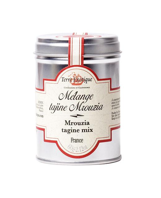 Mélange Tajine Mrouzia - Terre Exotique. Un assaisonnement sucré pour vos Tajines Mouzria à la viande.