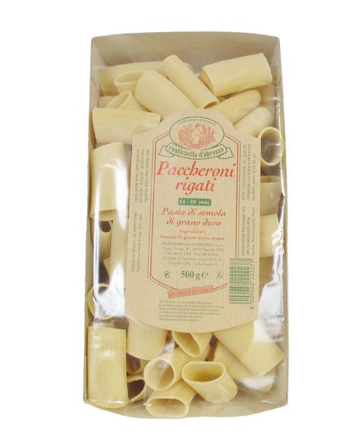Paccheroni Rigati - Rustichella d´Abruzzo. Les Paccheroni Rigati sont des pâtes tubulaires rainurées de grande taille idéale