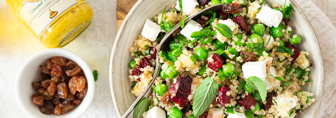 recette quinoa courgette betterave feta