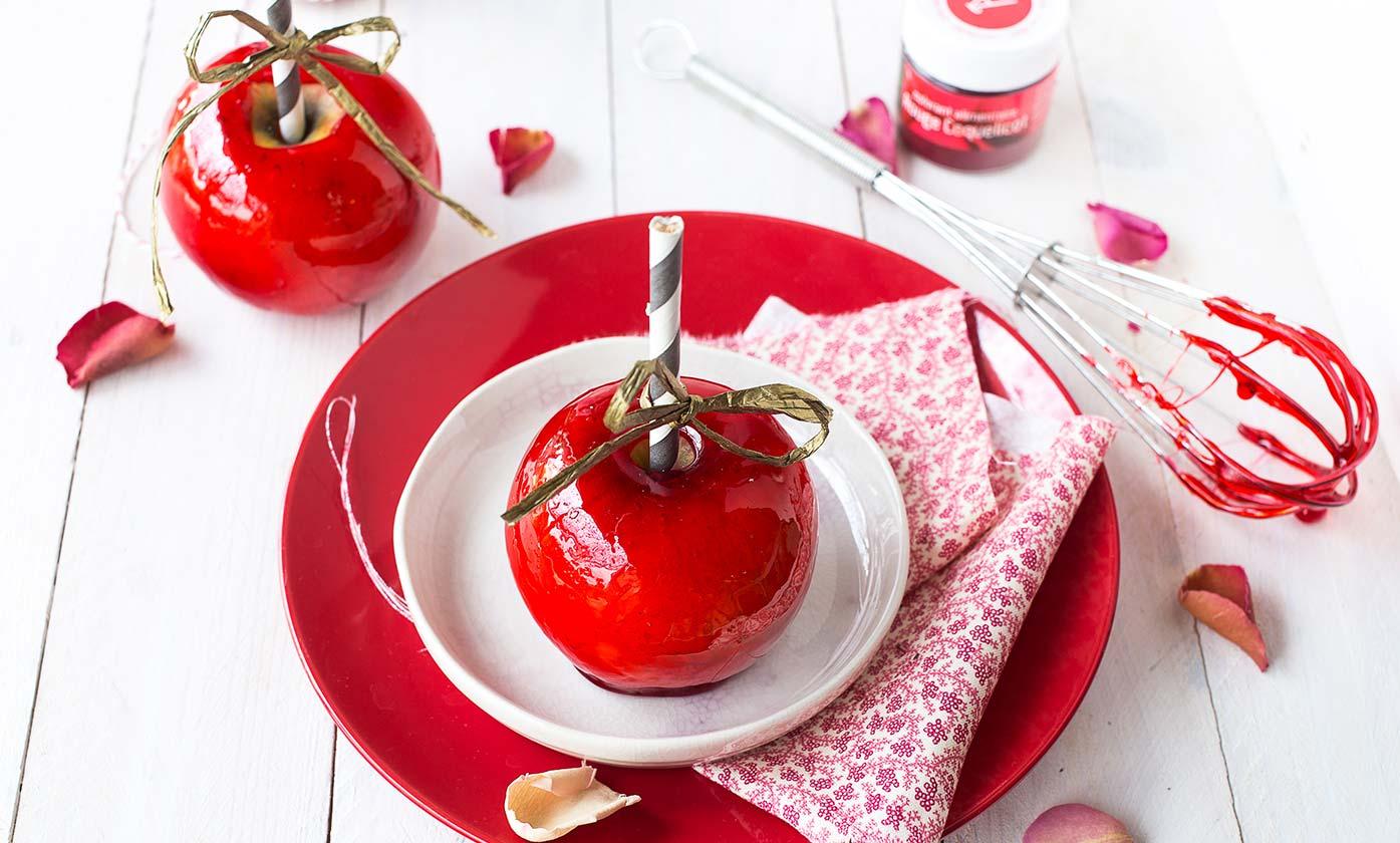 Pommes d'amour rouge coquelicot