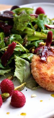 recette salade pistache framboises