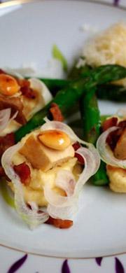 Recette asperges croquantes crème d'amandes
