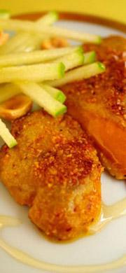 Foie gras pané à la poudre de noisettes du Piémont