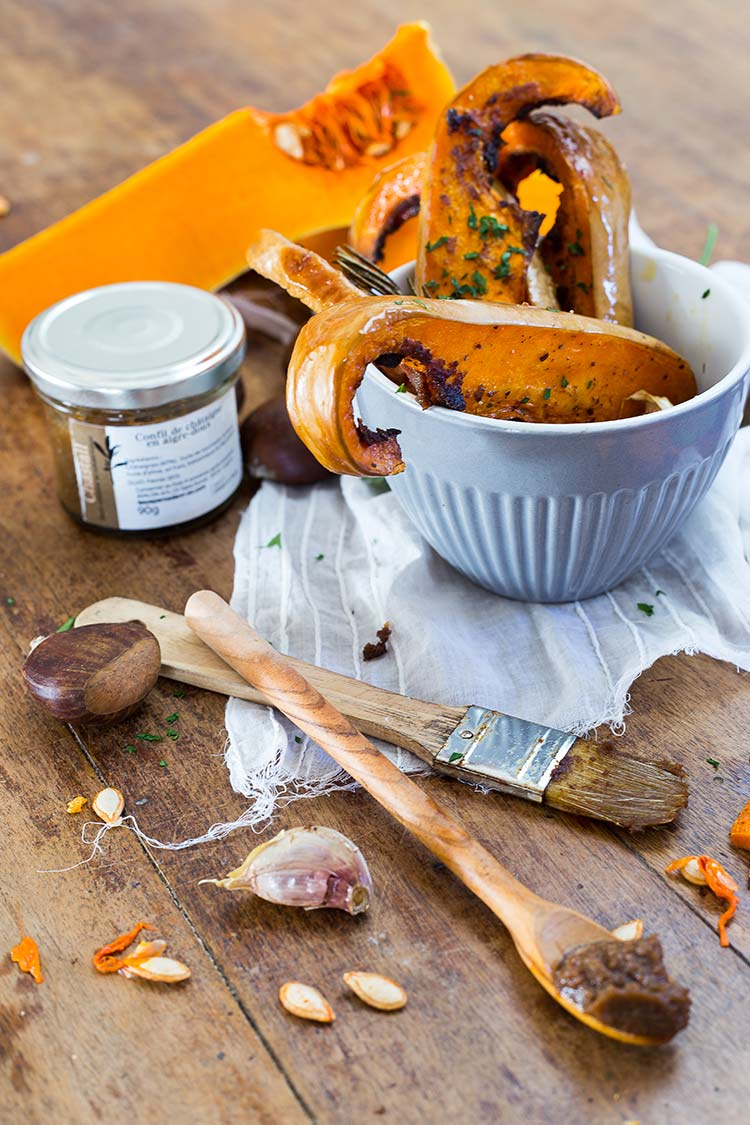 Courge butternut rôtie au confit de châtaigne