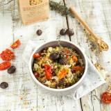 Risotto de Fregola Sarda aux olives noires et tomates confites