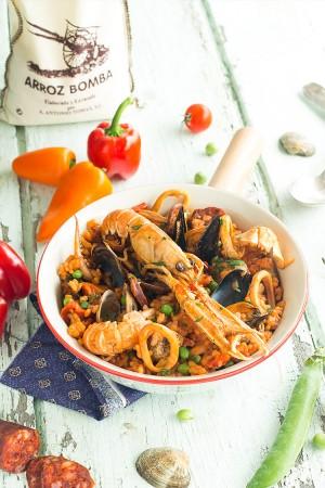 Paella épicée aux fruits de mer