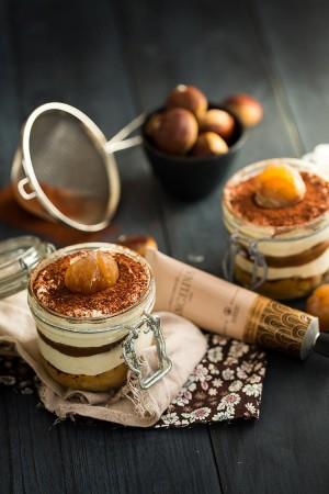 Tiramisu crème de marrons et marron glacé