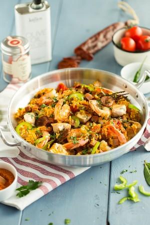 Jambalaya de poulet, crevettes et chorizo