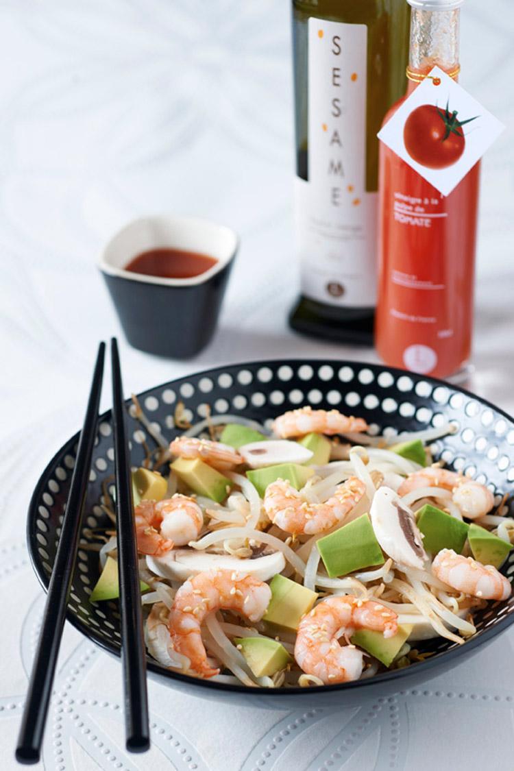 Salade de soja, champignons, avocats et crevettes