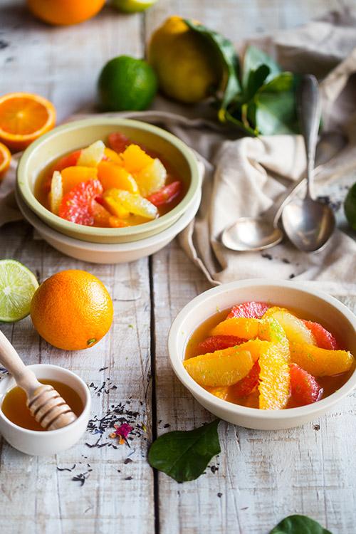 Salade d'agrumes au thé oriental et au miel