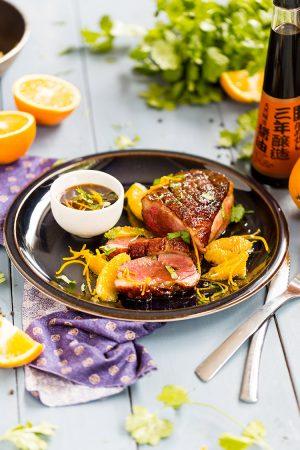 Magret de canard à l'orange et sauce soja 3 ans d'âge