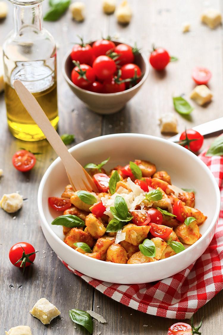 Gnocchis à la crème de tomates et au parmesan