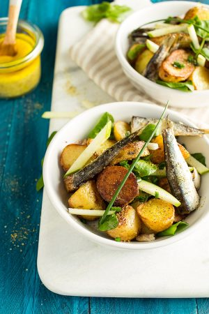 Salade de rattes, cresson & petites sardines au sel viking